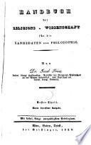 Handbuch der Religions Wissenschaft f  r die Kandidaten der Philosophie