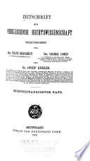 Zeitschrift F R Vergleichende Rechtswissenschaft