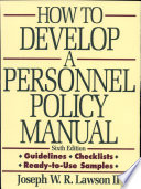 Ebook How to Develop a Personnel Policy Manual Epub Joseph W. R. Lawson Apps Read Mobile