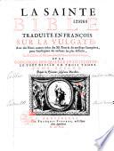 La Sainte Bible, traduction en français sur la vulgate