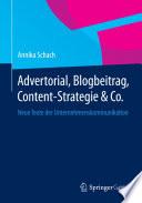 Advertorial  Blogbeitrag  Content Strategie   Co