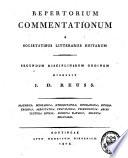 Repertorium commentationum a societatibus litterariis editarum
