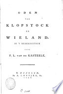 Oden Van Klopstock En Wieland In T Nederduitsch