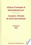illustration African Yearbook of International Law / Annuaire Africain de Droit International, 1994