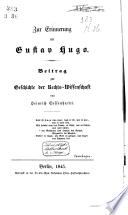 Zur Erinnerung an Gustav Hugo