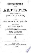 Dictionnaire des artistes, dont nous avons des estampes,