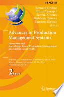 Advances in Production Management Systems  Innovative and Knowledge Based Production Management in a Global Local World