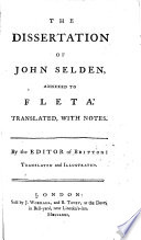 The Dissertation of John Selden