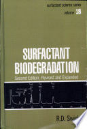 Surfactant Biodegradation  Second Edition