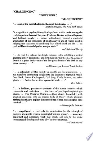 The Denial of Death - ISBN:9781416590347