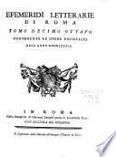 Efemeridi letterarie di Roma ...