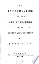 An Introcuction to the Art of Reading with Energy and Propriety