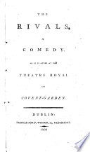 The Rivals A Comedy By R B B Sheridan