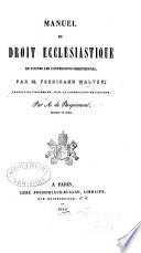 illustration Manuel du droit ecclésiastique de toutes les confessions chrétiennes