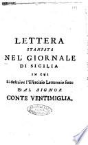 Lettera stampata nel Giornale di Sicilia in cui si descrive l esercizio letterario fatto dal signor conte Ventimiglia