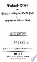 Personalstand der Sekular- und Regular-Geistlichkeit der Fürsterzbischöflichen Wiener Diözese
