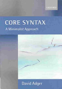 Core Syntax: A Minimalist Approach