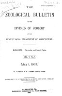 The Zoological Bulletin of the Division of Zoology of the Pennsylvania Department of Agriculture