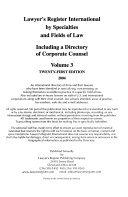 Lawyer's Register International by Specialties and Fields of Law Including a Directory of Corporate Counsel