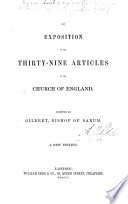 An Exposition of the Thirty Nine Articles of the Church of England     A new edition
