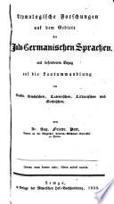 Etymologische Forschungen auf dem Gebiete der indo germanischen Sprachen