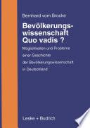 Bevölkerungswissenschaft — Quo vadis?