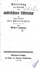 Anleitung zur Kenntniss der auserlesenen Literatur in allen Theilen der Philosophie