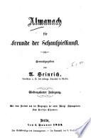 Almanach f  r Freunde der Schauspielkunst