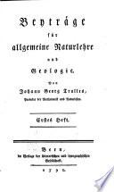 Beiträge für allgemeine Naturlehre und Geologie