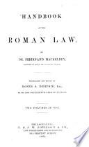 Handbook of the Roman Law Book PDF