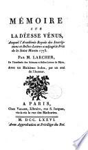 Mémoire sur la déesse Vénus ... par M. Larcher