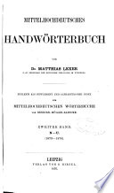Mittelhochdeutsches handwörterbuch von Dr. Matthias Lexer ...