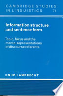 Information Structure and Sentence Form