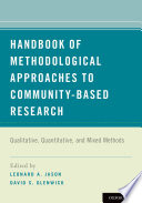 Handbook Of Methodological Approaches To Community Based Research