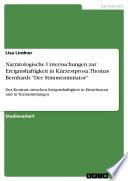 Narratologische Untersuchungen zur Ereignishaftigkeit in K  rzestprosa  Thomas Bernhards  Der Stimmenimitator