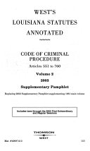 West s Louisiana statutes annotated
