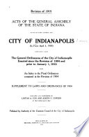 Acts of the General Assembly of Indiana So Far as They Control the City of Indianapolis  in Force April 15  1909