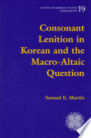 Consonant Lenition in Korean and the Macro-Altaic Question