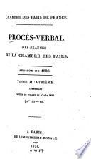 Proc  s verbal des s  ances de la Chambre des Pairs