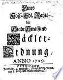 Eines Hoch-Edl. [i.e. Edlichse] Rahts der Stadt Stralsund Maeckler-Ordnung