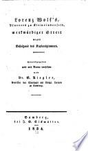 Lorenz Wolf's Pfarrers in Kleinrinderfeld merkwürdiger Streit wegen Beheitzens des Kaplanzimmers