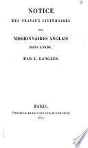 Notice des travaux littéraires des Missionaires Anglais dans l'Inde