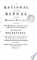 A Rational of the Ritual of the Hebrew Worship