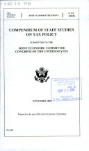 Compendium of staff studies on tax policy