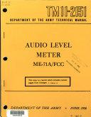Book Audio Level Meter ME-71A/FCC.