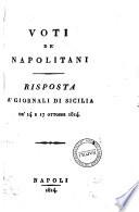 Voti de  napolitani risposta a  giornali di Sicilia d   14 e 17 ottobre 1814 Davide Winspeare