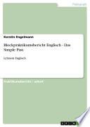 Blockpraktikumsbericht Englisch   Das Simple Past