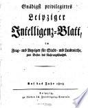 Leipziger Intelligenz-Blatt auf das Jahr
