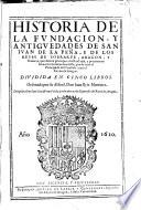 Historia de la fundación, y antiguedades de San Juan de la Peña, y de los reyes d'Aragon
