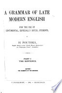 A Grammar of Late Modern English  the elements of the sentence